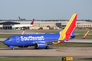 Southwest Airlines B737 taxiing to gate at Atlanta Hartsfield Jackson International Airport
